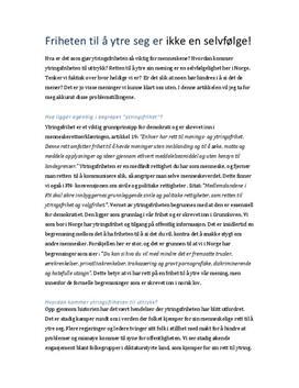 essay om ytringsfrihet