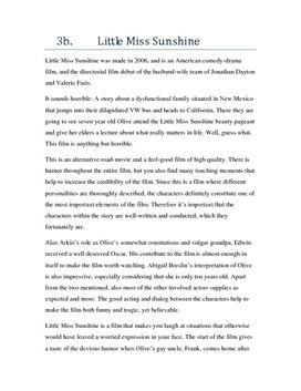 Engelsk analyse av Little Miss Sunshine