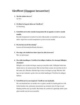 Vårofferet | Spørsmål og svar | Musikk i perspektiv 2