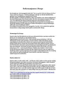 Reformasjonen i Norge | Faktaoppgave