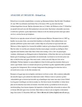 """Analyse av """"Muleum"""" av Erlend Loe"""