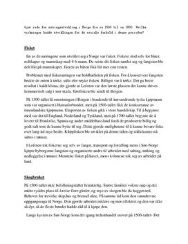 Redegjørelse for næringsutvikling i Norge fra ca. 1500 til ca. 1800-tallet