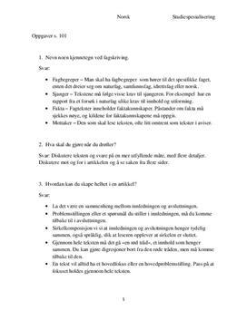 Spørgmål og svar | Grip Teksten VG1 s. 101