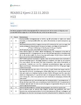 Kjemi 2 | Eksamen høst 2013 | Løsningsforslag