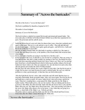 """Summary of """"Across the barricades"""""""