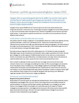 Lokalt selvstyre | Eksamen i Politikk og menneskerettigheter | Høst 2015