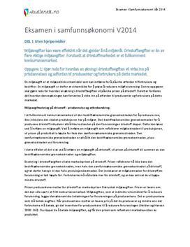 Miljøavgifter | Oljefondet | Prisveksten i Norge | Eksamen i Samfunnsøkonomi 2 | Vår 2014
