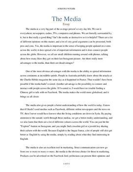 Fordeler og ulemper med dagens medier | Essay