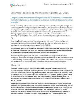 Menneskerettigheter under press | Eksamen i Politikk og menneskerettigheter | Eksamen vår 2015
