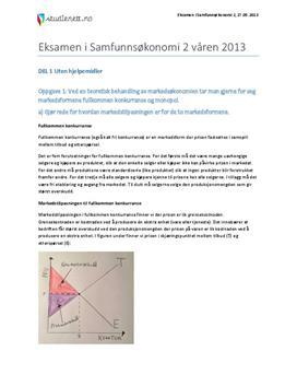 Eksamen i Samfunnsøkonomi   Vår 2013   Markedsformer   Vekst   Kronekursen   Toll