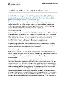 Sosialkunnskap   Eksamen våren 2013   Innvandring & Velferd