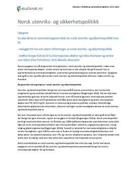 Norsk utenriks- og sikkerhetspolitikk | Eksamen i Politikk og menneskerettigheter | Høst 2014