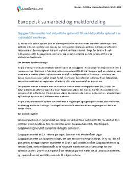 Europeisk samarbeid og maktfordeling | Eksamen i Politikk og menneskerettigheter | Våren 2014