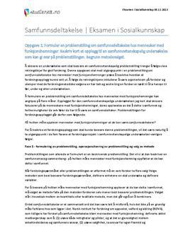 Arbeid og samfunnsdeltakelse | Sosialkunnskap | Eksamen høst 2013