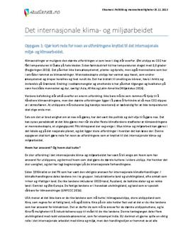 Det internasjonale klima- og miljøarbeidet | Eksamen i Politikk og menneskerettigheter | Høst 2013