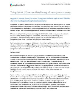 Ytringsfrihet | Eksamen i medie- og informasjonskunnskap 2 | Høst 2015