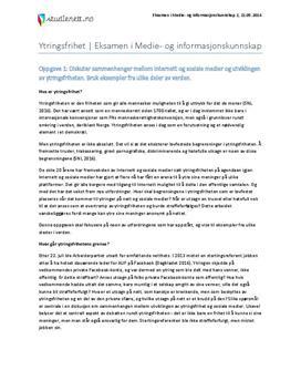 Hva er ytringsfrihet? | Eksamen i medie- og informasjonskunnskap 2 | Vår 2014