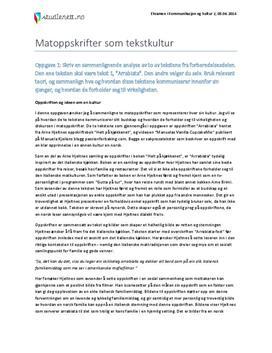 Matoppskrifter som tekstkultur | Eksamen i Kommunikasjon og kultur 2 | Vår 2014