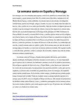 La semana santa en Noruega y España   Tekst på spansk