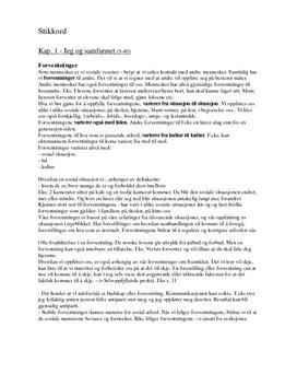 Stikkord til Kap. 1 - Jeg og samfunnet (9-49)