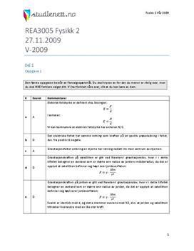 Fysikk 2 Eksamen høst 2009 | Løsningsforslag
