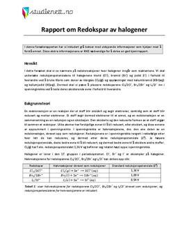 Redokspar av halogener | Rapport i Kjemi 2