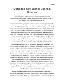 Kristendommens endring gjennom historien | Temaoppgave