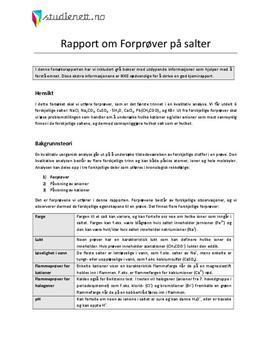 Forprøver på salter | Rapport i Kjemi 2