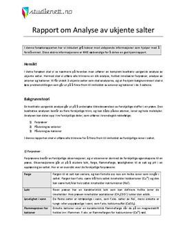 Analyse av ukjente salter | Rapport i Kjemi 2