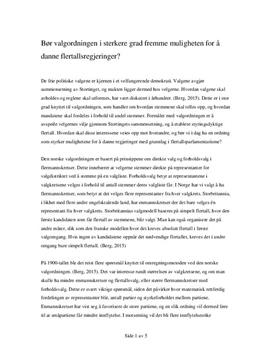 Valgordningen og flertallsregjeringer | Debattartikkel