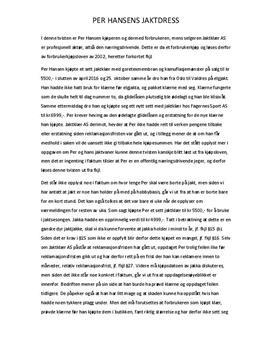 Per Hansen og Jaktklær AS | Kjøps- og forbrukerrett | Caserapport