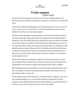 Vi står sammen av Hajrah Arshad | Retorisk analyse