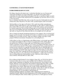 Kosovokonflikten - sammendrag