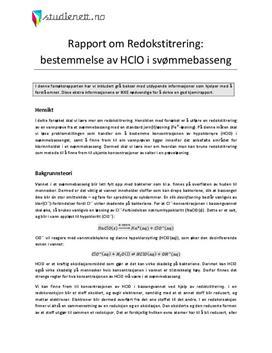 Redokstitrering: bestemmelse av HClO i svømmebasseng | Rapport i Kjemi 2