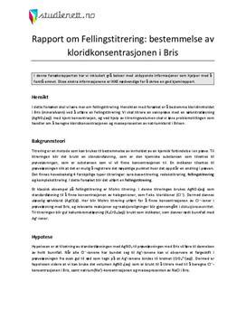 Fellingstitrering: bestemmelse av kloridkonsentrasjonen i Bris | Rapport i Kjemi 2