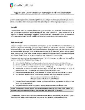 Undersøkelse av korrosjon med «rustindikator» | Rapport i Kjemi 2