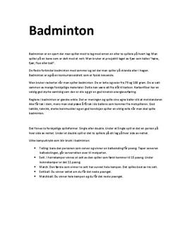 Badminton | Sammendrag | Arbeidskravsanalyse | Øktplan | Agentreningsrapport