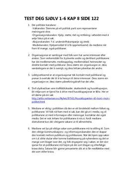 Fokus Samfunnsfag - Test deg sjølv kapittel 8
