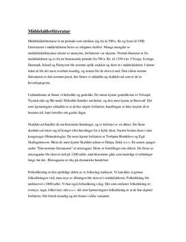 Sammendrag om middelalderlitteratur