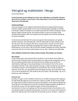 Drøftningsoppgave: utvikling i vikingtid og middelalder