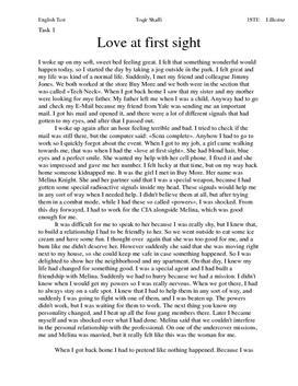 Engelsk novelle: Love at first sight