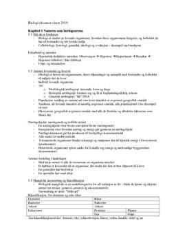 Oppsummering Biologi 2