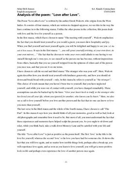 an analysis of derek walcotts poem Poet derek walcott told interviewer dennis scott that he didn't read poetry for  pleasure  walcott's work ran the gamut of emotions and themes, but repeatedly .