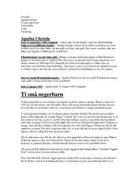 """Manus til framføring av romanen av Agatha Christie """"Ten little niggers"""""""