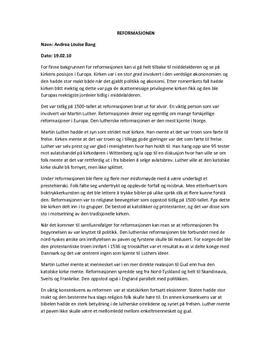 Reformasjonen - årsaker og konsekvenser