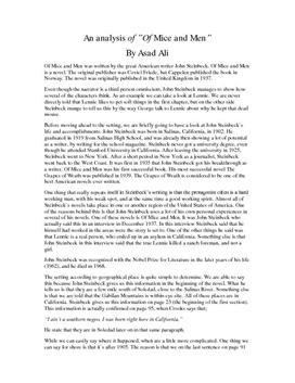 Analys av Mice and Men