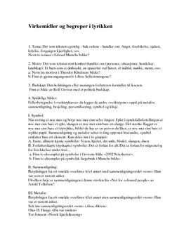 Virkemidler og begreper i lyrikken