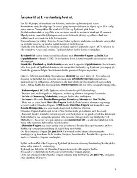 Årsaker til første verdenskrig