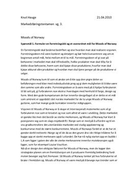 Tentamen Markedsføring 2010 | Analyse Moods of Norway