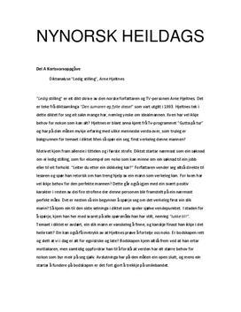 """Nynorsk tenatmen - Del A: diktanalyse Arne Hjeltnes """"Ledig stilling"""". Del B: artikkel om modernismen"""